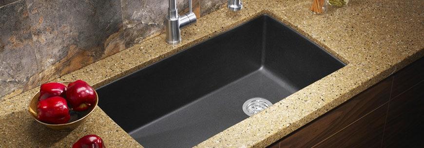 Countertop undermount sink