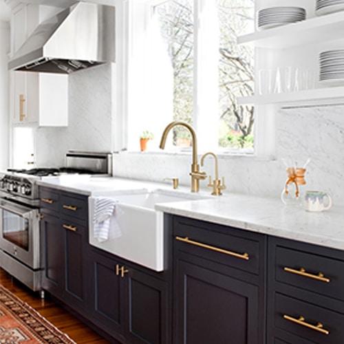 Kitchen with brass hardware