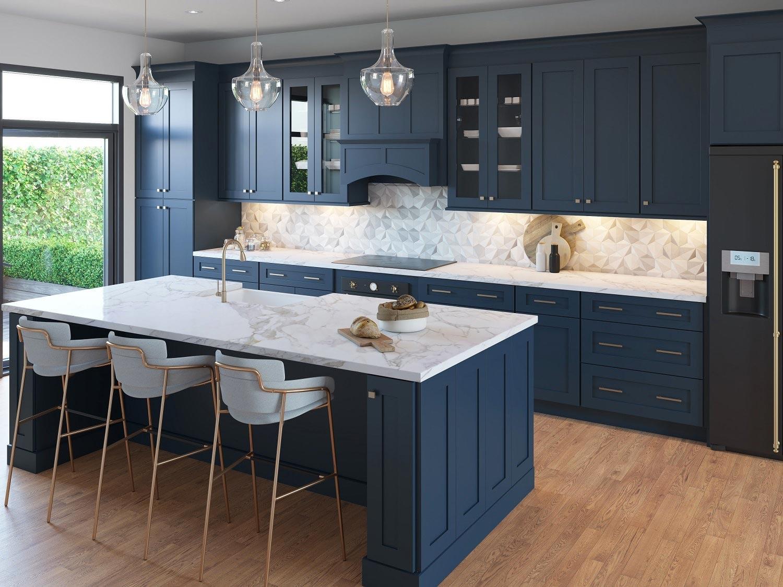 deep navy blue kitchen cabinets