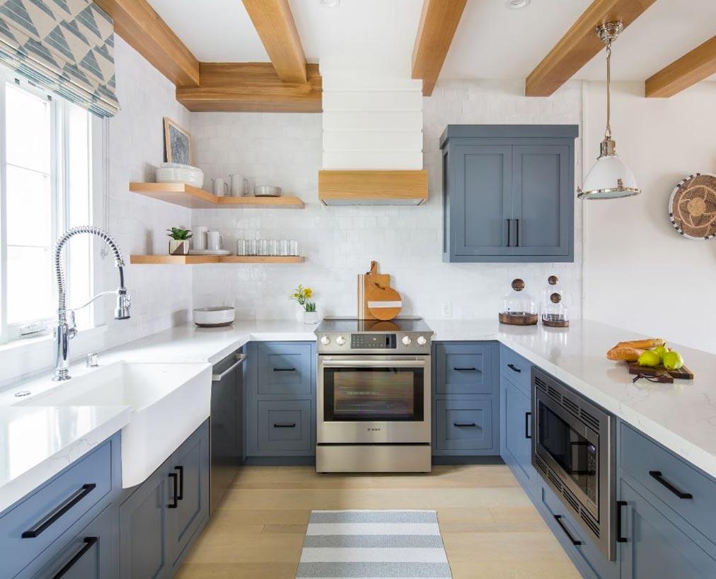 medium blue kitchen cabinets